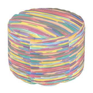 Taburete rayado del arco iris puf