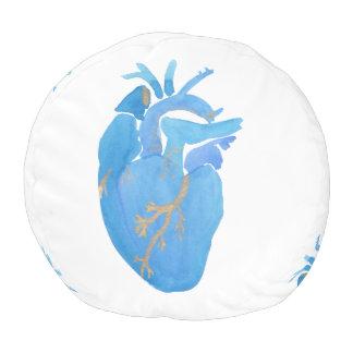 Taburete redondo del corazón anatómico azul puf