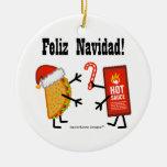¡Taco y salsa caliente - Feliz Navidad! Adorno Navideño Redondo De Cerámica