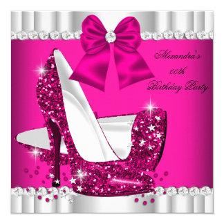 Tacón alto blanco del encanto del rosa elegante invitación 13,3 cm x 13,3cm