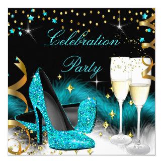 Tacones altos del azul del trullo del fiesta de invitación 13,3 cm x 13,3cm