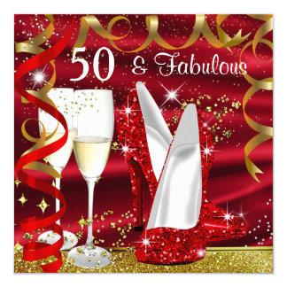 Tacones altos fiesta rojo de 50 del oro fabuloso invitación 13,3 cm x 13,3cm