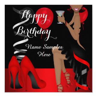 Tacones altos negros rojos del zapato de la fiesta invitación 13,3 cm x 13,3cm