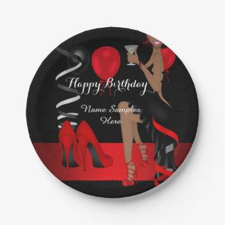 Tacones altos negros rojos del zapato de la fiesta plato de papel