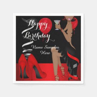 Tacones altos negros rojos del zapato de la fiesta servilletas desechables