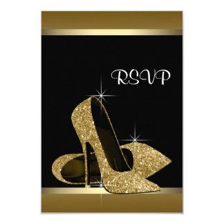 Tacones altos negros RSVP del oro Invitación 8,9 X 12,7 Cm