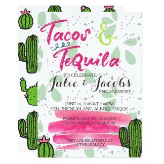 Tacos y fiesta de compromiso del Tequila Invitación 12,7 X 17,8 Cm