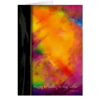 Tacto de la tarjeta de cumpleaños pintada púrpura