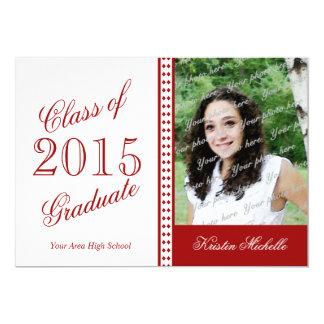 Tacto del rojo 2015 de la foto del graduado de la invitación 12,7 x 17,8 cm