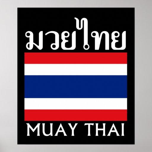 Tailandés de Muay + Bandera de Tailandia Poster