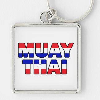 Tailandés de Muay Llavero Cuadrado Plateado