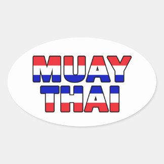 Tailandés de Muay Pegatina Ovalada