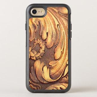 Talla de madera de la carpintería de la hoja del funda OtterBox symmetry para iPhone 8/7