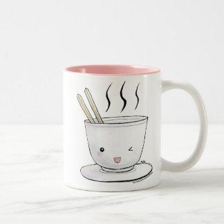 tallarines del kawaii taza de café de dos colores