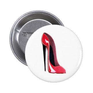 Talón negro, zapato rojo del estilete chapa redonda de 5 cm