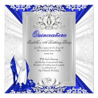 Talones del azul real del cumpleaños de invitación 13,3 cm x 13,3cm
