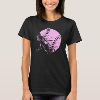 Talud del softball con la bola del Grunge Camiseta