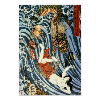 Tamatori y bella arte del japonés de Kuniyoshi del