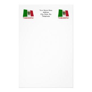 Tamaulipas que agita la bandera oficiosa papelería personalizada