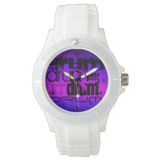 Tambor; Azul violeta y magenta vibrantes Relojes De Pulsera