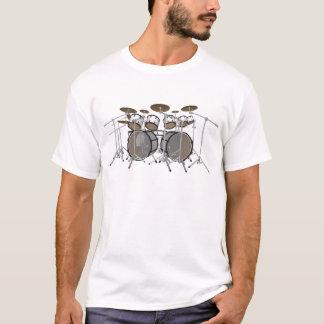 Tambores: Batería blanca: modelo 3D: Camiseta