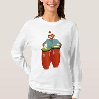 Tambores del Conga del mono del calcetín Camiseta