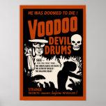 Tambores del diablo del vudú - poster con el hombr