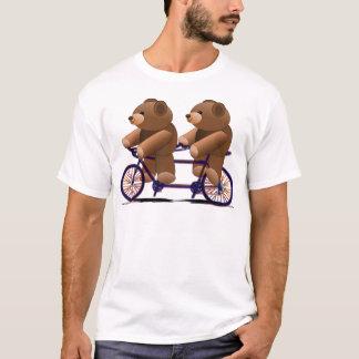 Tándem de la bicicleta, impresión del oso de camiseta