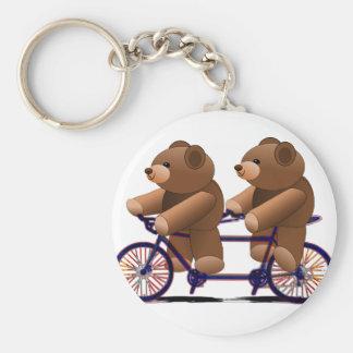 Tándem de la bicicleta, impresión del oso de llavero redondo tipo chapa