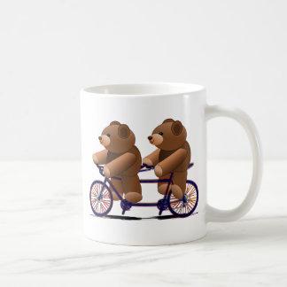 Tándem de la bicicleta, impresión del oso de taza de café