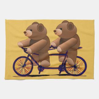 Tándem de la bicicleta, impresión del oso de toalla de mano