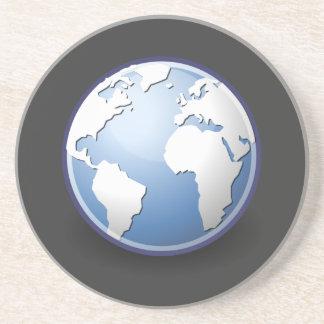 Tango del globo del mundo de la tierra posavasos de arenisca