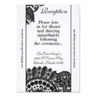 tapetitos del cordón del negro del vintage de la invitación 12,7 x 17,8 cm