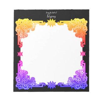 Tapicería dibujada colorida intrépida bohemia bloc de notas