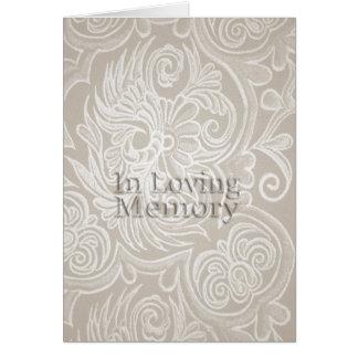 Tapicería floral beige en tarjeta cariñosa del