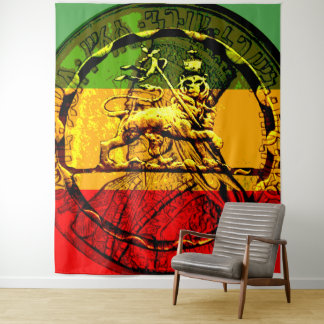 Tapiz León de Rasta del verde rojo del oro de Judah