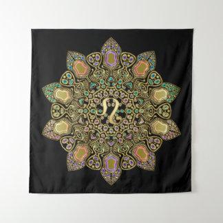 Tapiz Negro y tapicería de la mandala de Leo de la
