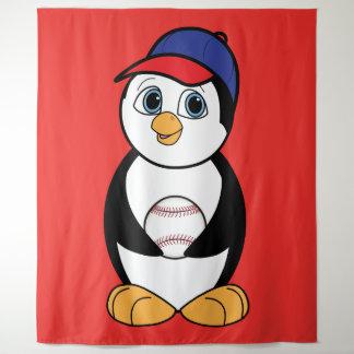 Tapiz Pingüino que juega a béisbol