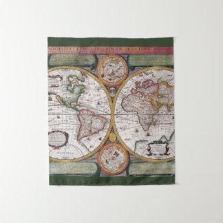 Tapiz Tapicería antigua del mapa del mundo el  