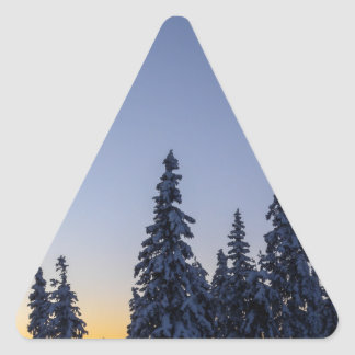 Tarde Snowscape Pegatina Triangular