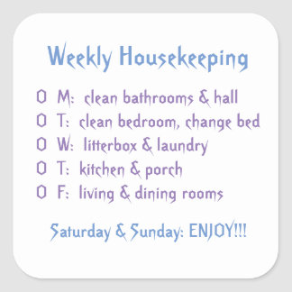 Tareas semanales de la economía doméstica pegatina cuadrada