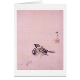 Tarjeta 双雀, par del gorrión, Seihō, arte japonés del 栖鳳