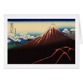 Tarjeta 山下白雨, trueno y el monte Fuji, Hokusai, Ukiyo-e del