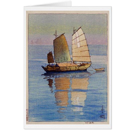 Tarjeta 帆船夕日, resplandor de tarde de los barcos de
