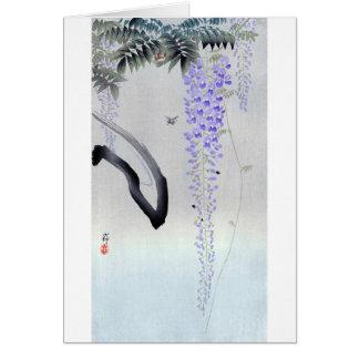 Tarjeta 藤の花, glicinia floreciente del 古邨, Ohara Koson,