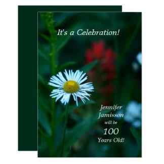 Tarjeta 100 años de la fiesta de cumpleaños invitan a la