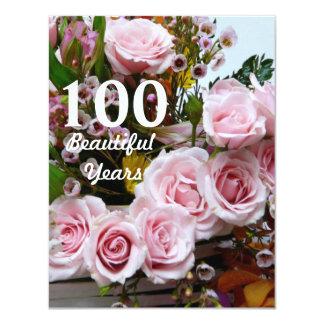 Tarjeta ¡100 años hermosos! - Fiesta de cumpleaños/rosas
