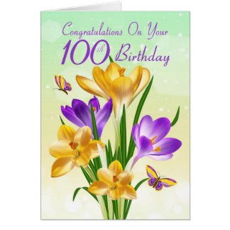 Tarjeta 100o Azafrán amarilla y púrpura del cumpleaños
