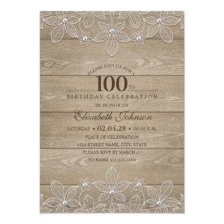 Tarjeta 100o cordón único de madera rústico de la fiesta