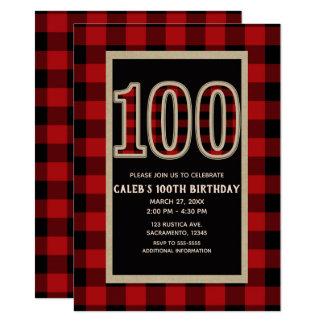 Tarjeta 100o cumpleaños 100 de la tela escocesa roja